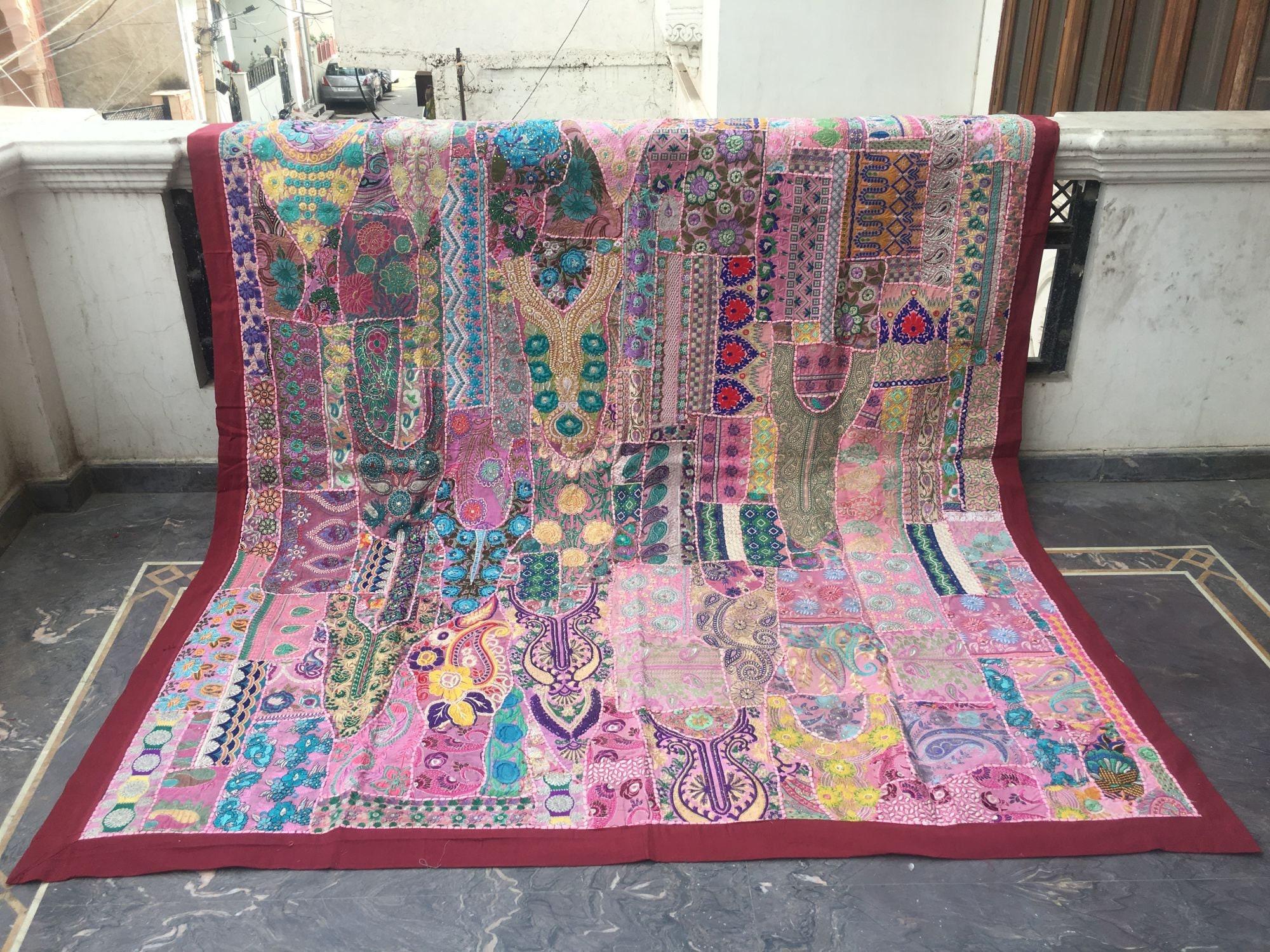 Indian vintage Sari Patchwork Tapestry, Traditional Handmade boho Wall Hanging Huge Size vintage Patchwork Tapestry, bedding