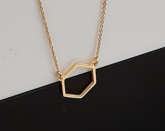 14k yellow gold Hexagon Necklace / Dainty Gold Hexagon Necklace / Geometric Necklace / Layered Necklace / Bridesmaid/ Mother's Day gift