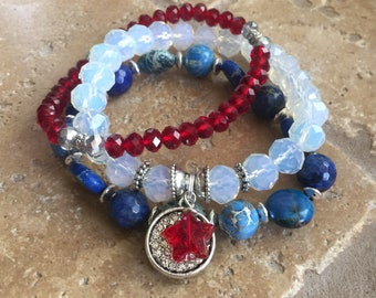 Patriotic 4th of July Red White Blue Gemstone Beaded Stretch Bracelet Set Independence Day USA Jewelry