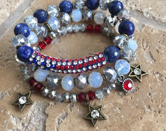 Fourth of July Patriotic Pave Star Charm Gemstone Beaded Stretch Bracelet Set Independence Day USA Jewelry