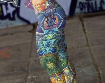 Yoga Leggings/ Womens Yoga Pants/ Leggings/ Womens Leggings/ Girls Leggings/ Printed Yoga Pants/ Madala Yoga Leggings/ Boho Clothing