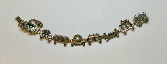Sterling and gemstone train bracelet