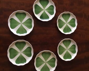 Set of six antique (Irish?) four leaf clover dessert plates