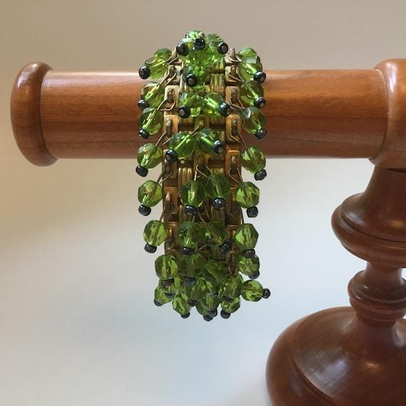 Miriam Haskell peridot green dangle bangle