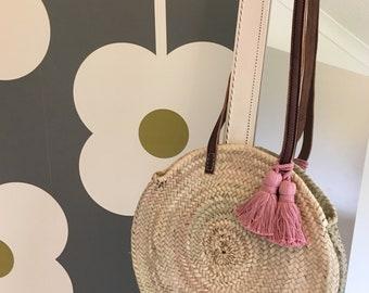 Moroccan Basket Bag, Dusky Pink, Tassels Bag, Summer Bag, Round Basket Bag, Straw Bag, Beach Bag, Shoulder Bag, Shopper, Ethical Bag