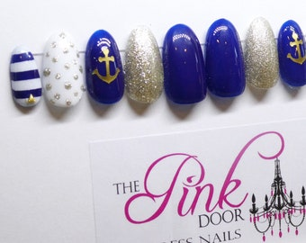 Blue and Gold Press On Nails with Anchor and Stripe Accents