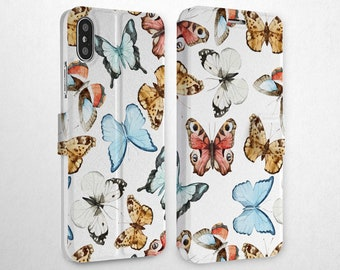 4458e7878565 Butterfly Case Phone Case iPhone 6 Magnetic Snap iPhone Xr Case 8 Plus  Cover XS Max Wallet iPhone Credit Card Holder Flip Case iPhone 7