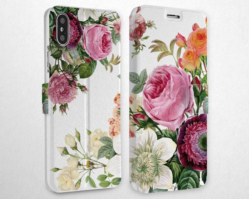 992c9b2ba6d7 Flowers Flip Case Magnetic Snap Case XS Max Wallet iPhone | Etsy