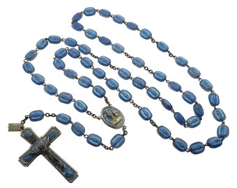 Vintage Lourdes Bubble Lucite Rosary, Legatura Alpacca Rosary, Vintage Lady of Lourdes Blue Rosary, Blue Bubble Virgin Mary Rosary