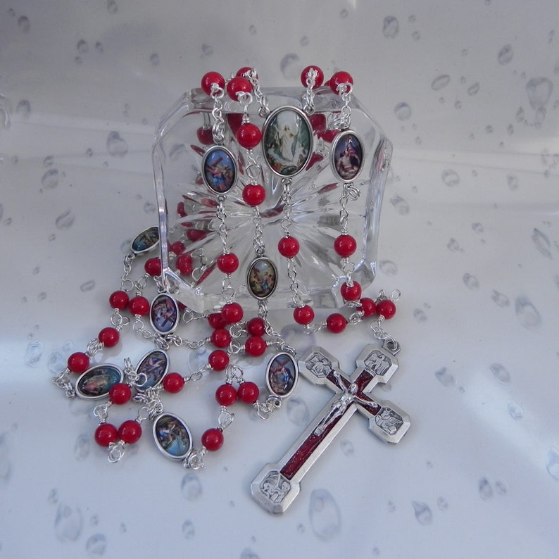 Stations of the Cross Rosary Beads Wire Wrapped Red Sea Shell image 0