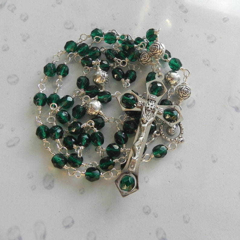 Emerald Green & Silver Wire Wrapped May Birthstone Rosary image 0