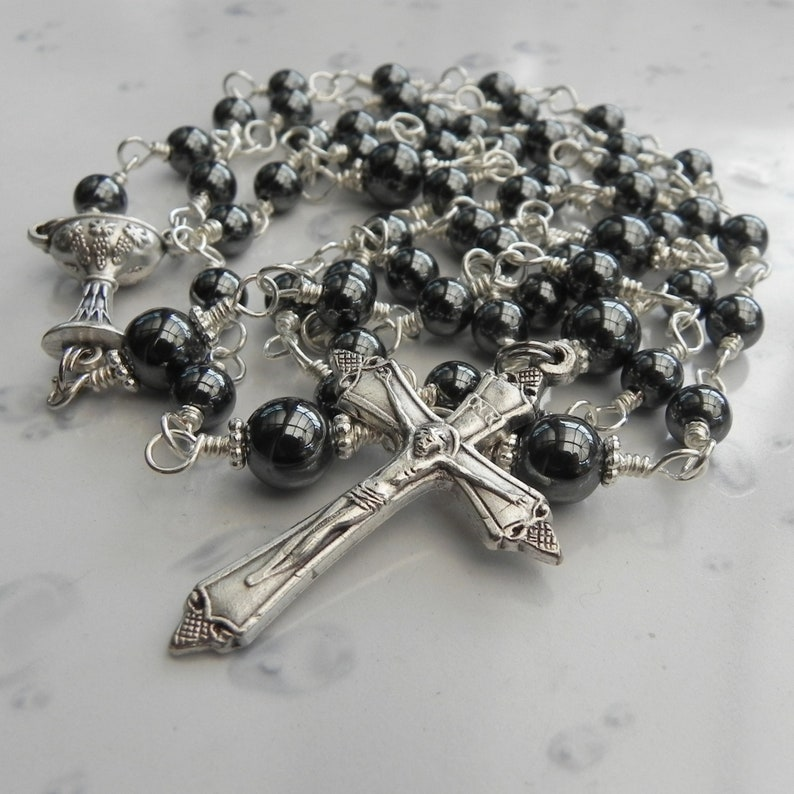 Black Hematite Rosary Beads Wire Wrapped Silver Rosary Chain image 0