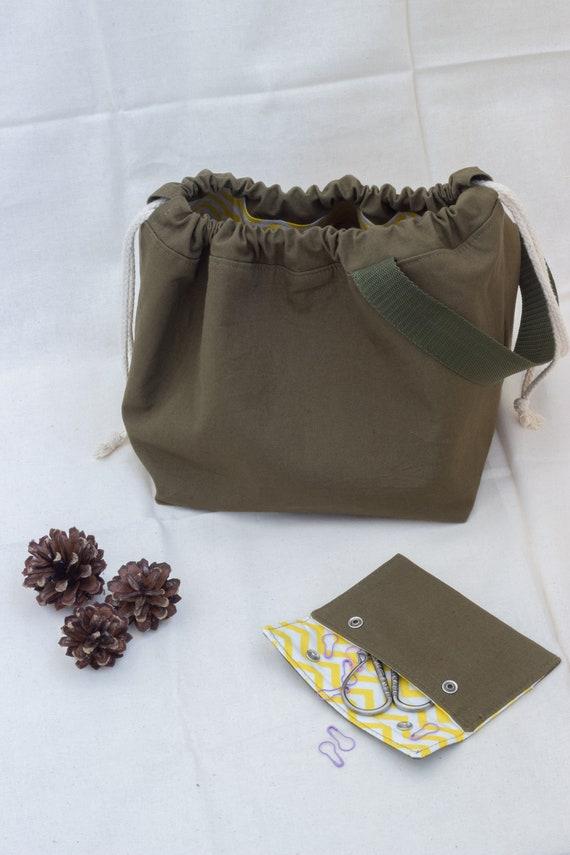 Khaki Projekttasche Stricken Tasche Sack Pullover Stricken Etsy