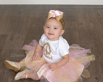 Pink Gold And White Birthday Photoshoot Outfit Tulle Skirt Sequence Headband With Bow Onesie Name Age First Half