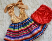 FIESTA cotton sarape sequence gold Mexican cinco de mayo dress for photoshoots and birthday party, halloween, easter for baby, toddler, girl