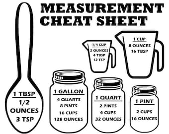 Measurement cheat sheet svg, Measurement svg, cutting board svg, kitchen svg, kitchen decor svg, svg, dxf files, dxf, svg files, cricut