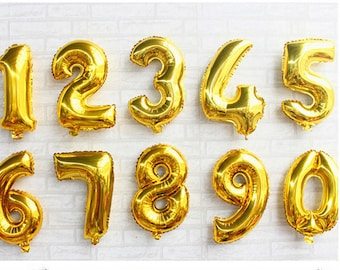 16 Inch 32 Gold Number Balloons Air Filled Mylar Banners Baby Shower Anniversary Birthday Party