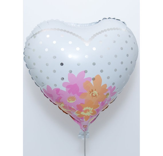 White Heart Helium Balloon Weight Plus Ribbon Valentine Valentines Birthday