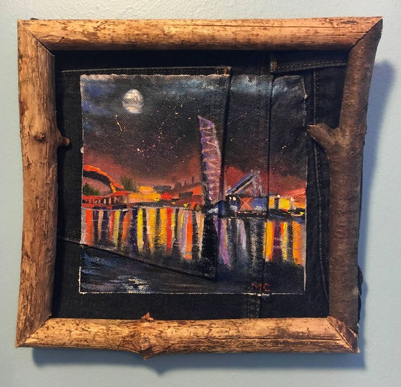 Lavender Cleveland Bridge Oil Painting with Rustic Wood Frame image 0