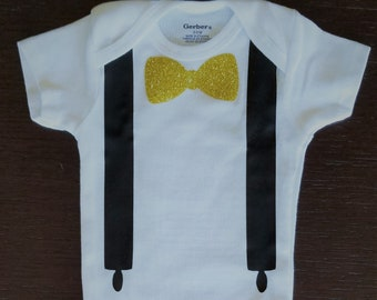 Bow Tie and Suspenders Onesie