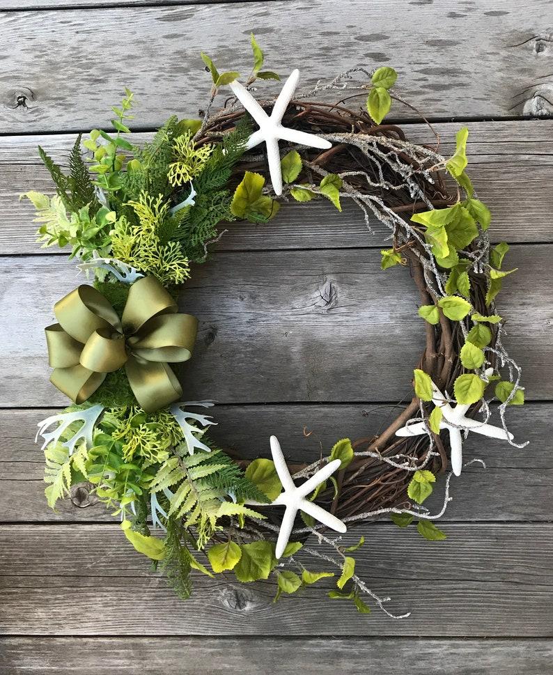 Starfish Spring Wreath Year Round Wreath Front Door Wreath Wreath with Starfish,