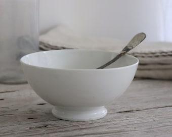 Large french white porcelain café au lait bowl.