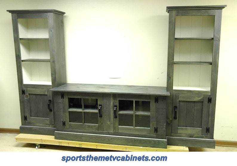 Large Tv Cabinet Entertainment Center Wall Unit Rustic Etsy