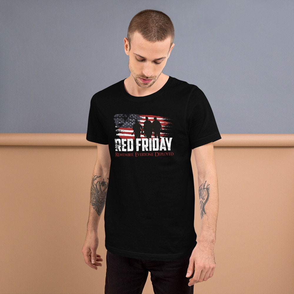 Vintage Red Friday T Shirt Remember Everyone Deployed Unisex