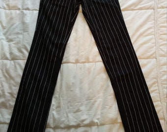 Pant stretch black White stripes