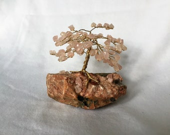 Rose Quartz Gem Tree on Feldspar Base
