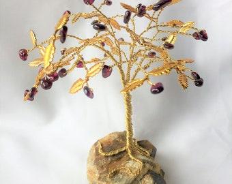 Garnet Gem Tree with Gold Leaves