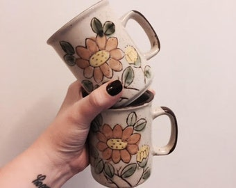 Vintage Floral Stoneware Mugs | Set of 2