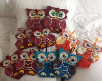 Embroidered Owl pot Holders-kitchen decoration-embroidered pot Holders-owl-embroidery-patchwork-