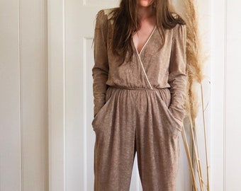 4cf956106ec Beige Terry Cloth Jumpsuit