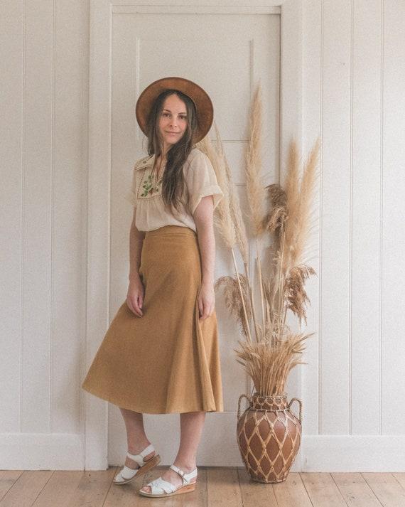 Honey Brown High Waist Corduroy Skirt