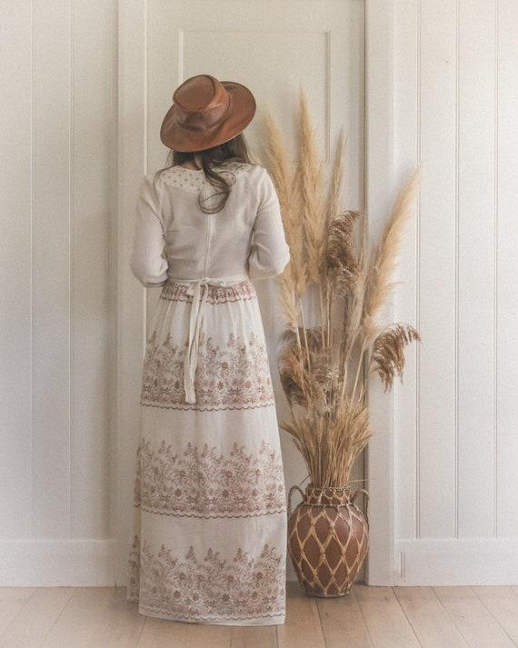 Vintage Textured Cotton Gauze 70's Floral Boho Pr… - image 5