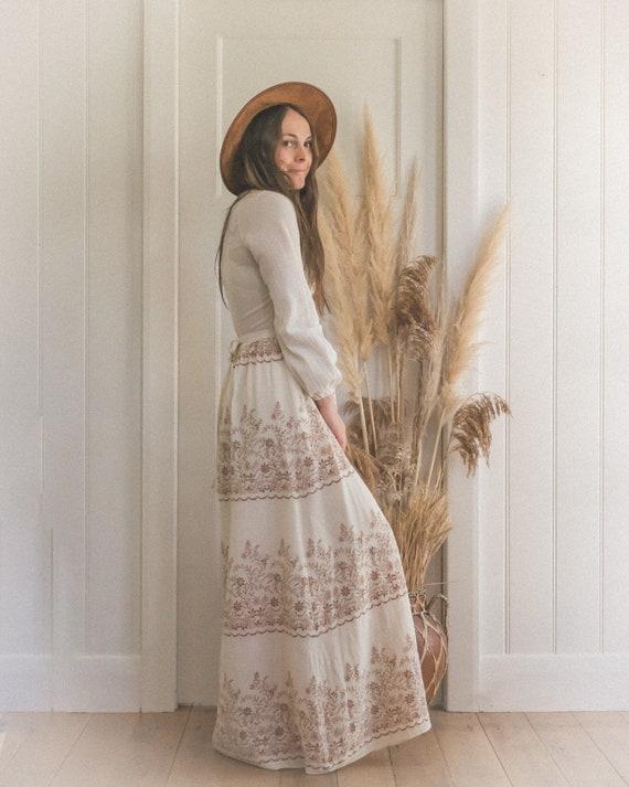 Vintage Textured Cotton Gauze 70's Floral Boho Pr… - image 3