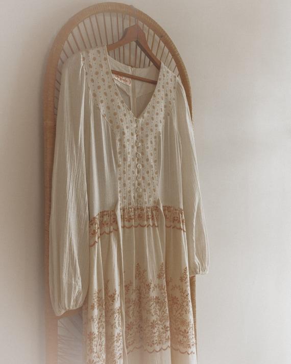 Vintage Textured Cotton Gauze 70's Floral Boho Pr… - image 7