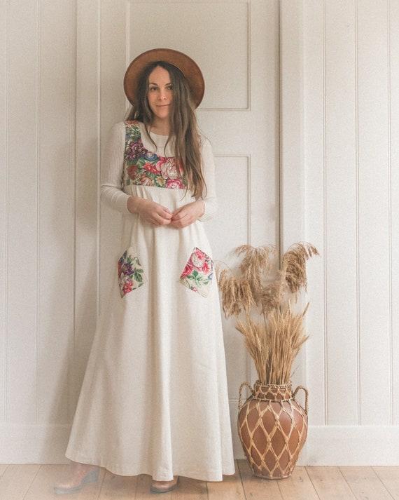 Vintage Handmade Cotton Calico Floral Pocket Dress