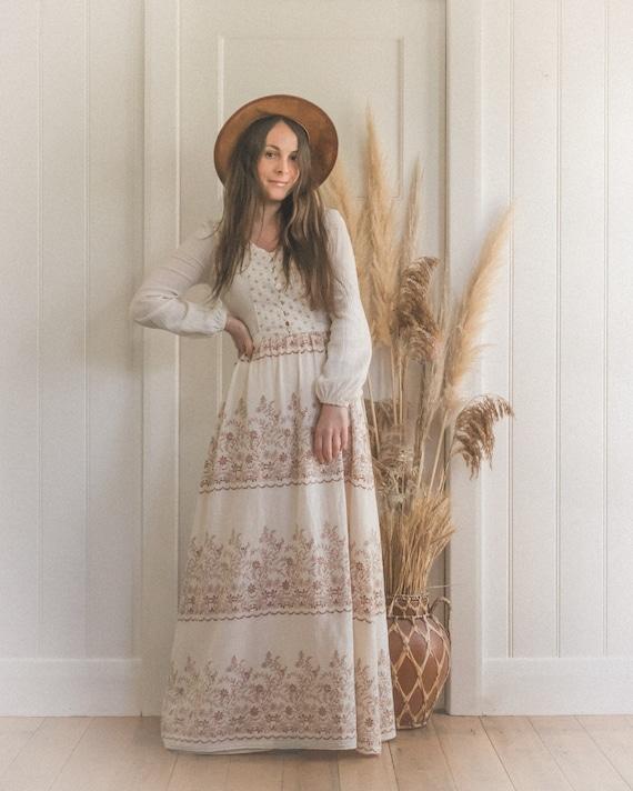 Vintage Textured Cotton Gauze 70's Floral Boho Pr… - image 1