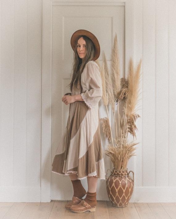 70's Cotton Crochet Earth Toned Swirl Dress