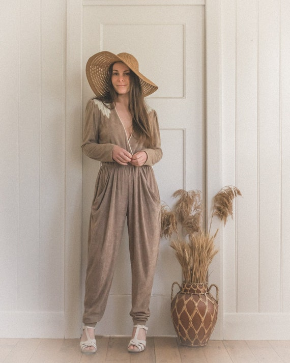 Vintage Beige Terry Cloth Jumpsuit