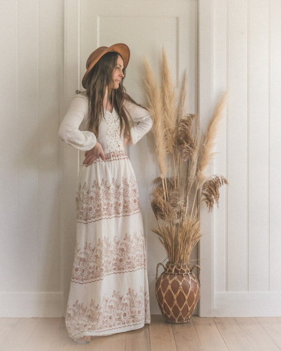 Vintage Textured Cotton Gauze 70's Floral Boho Pr… - image 2