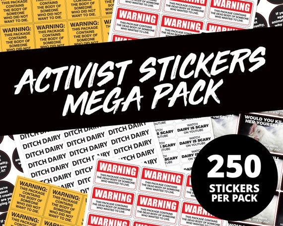 100 Vegan Activist Stickers New Designs SALE