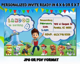 Paw Patrol Invitation Birthday Printable Card Invites