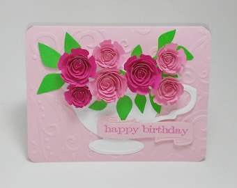 Happy Birthday Card 3D Pink Rose In A Cup