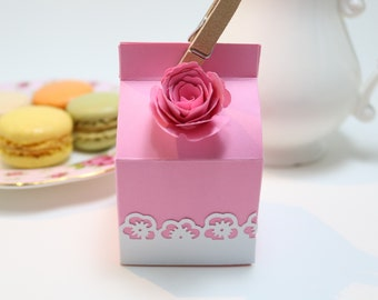 12pc Macaron, Cookie, Party Favor Boxes-Pink Rose, Pink Macaron Boxes, Birthday Decorations