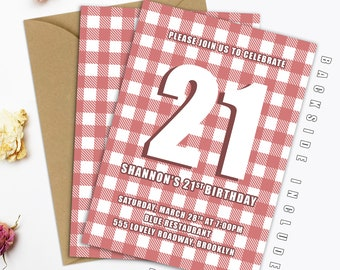 Checkered Birthday Invitation 21st Birthday Invitation Printable 21st Birthday Invitation Twenty First Birthday Invitation Birthday DIGITAL