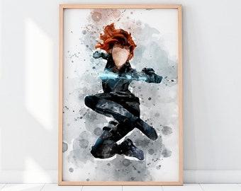 Black Widow Printable Black Widow Print Black Widow Wall Art Black Widow Poster Black Widow Black Widow Prints Avengers Print Girls Decor