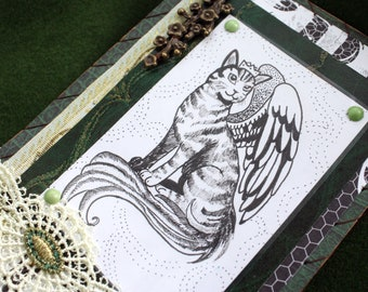 Winged Cat Prince - notebook traditional art green black white wings stripes original art gift childrencrown meow decoration writing drawing